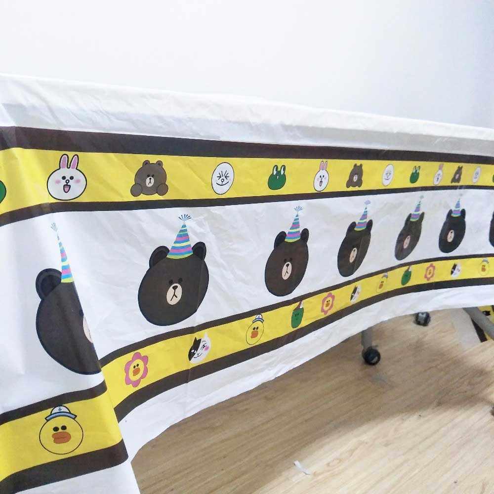 Teddy Bear Pesta Ulang Tahun Anak-anak Pemasok Taplak Meja Piala Piring Jerami Serbet Hadiah Tas Pisau Garpu Sendok Piring