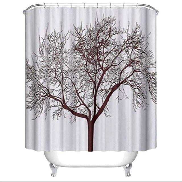 180x180cm/ 180x200cm Black Tree Shower Curtain Polyester Bath ...