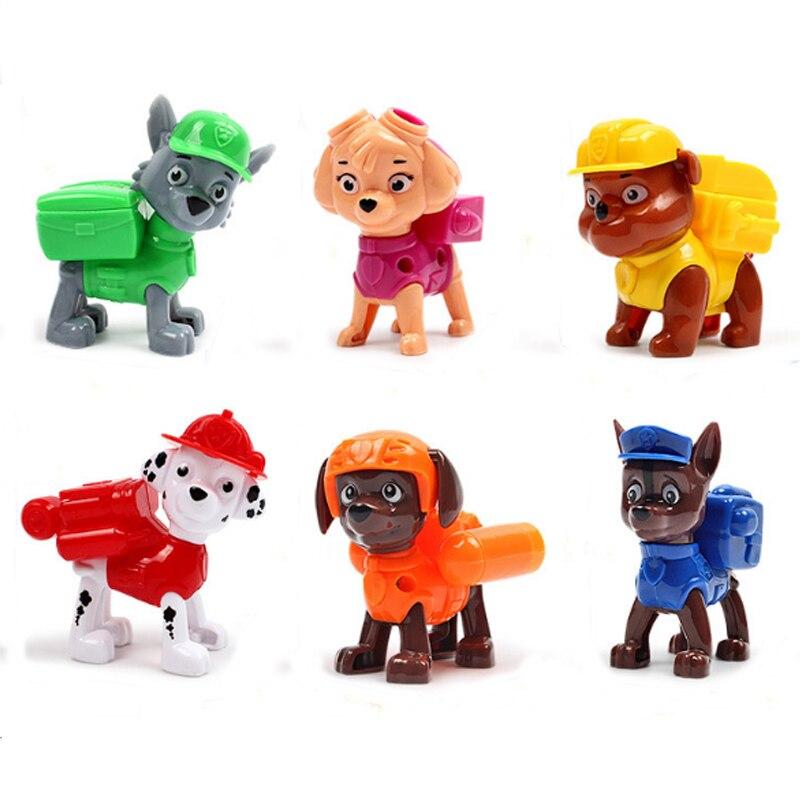 6pcs/set 6 style Cartoon Plastics Toy Figures For Cute PAW Patrol Dog Model Action Figure Anime Kids Toys Birthday Toys D88 free shipping 6pcs cute garen xinzhao jarvaniv ezreal leesin sona pvc action figure style keyring key chains 6pcs per set