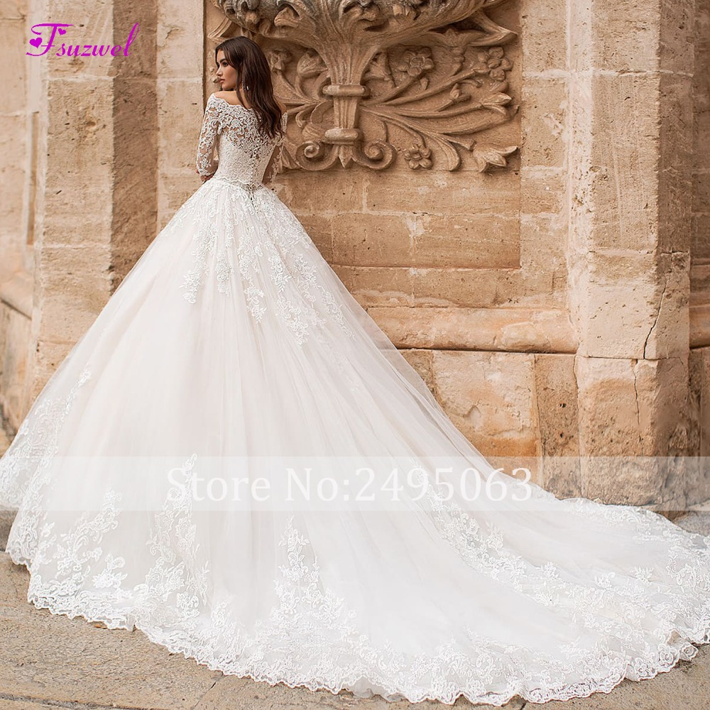Image 2 - Fsuzwel New Boat Neck Appliques Long Sleeve A Line Wedding Dress 2019 Luxury Crystal Sashes Princess Bride Gown Vestido de Noiva-in Wedding Dresses from Weddings & Events