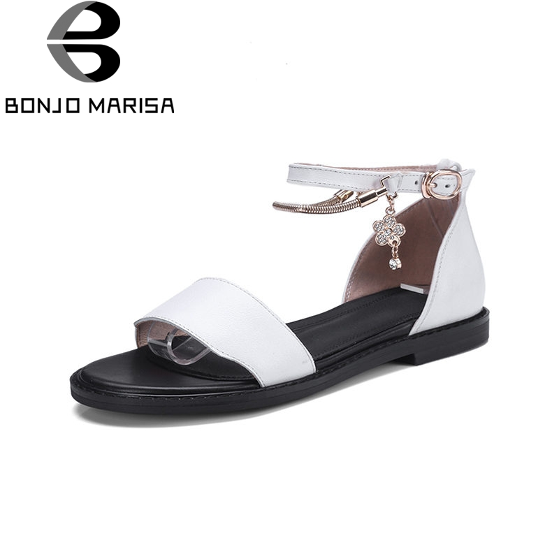 BONJOMARISA 2018 Summer Elegant Low Heels Women Concise Sandals Genuine Leather Platform Chain Shoes Woman bonjomarisa 2018 summer sweet concise women sandals big size 33 43 fashion beading bow shoes woman low chunky heels women shoes