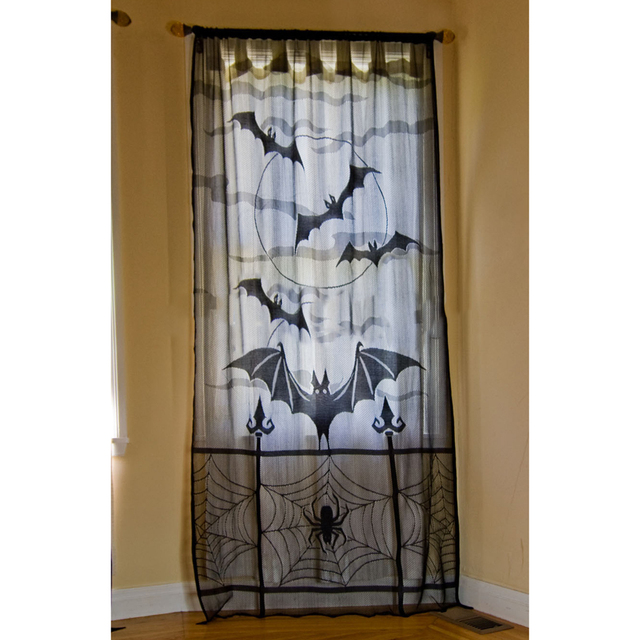 Halloween Haunted House Gothic Black Lace Spider Web Bat Curtains