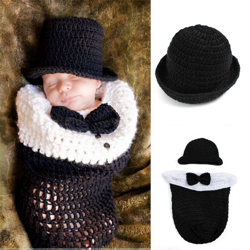Newborn 24Months Sleeping Bag Crochet Bowler Hat Baby Girl Boy Knitted  Bowknot Costume Set Infant Photography Props Outfits on Aliexpress.com  8bf07baa285