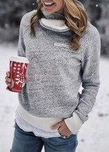 2019  new arrival fashion woman sweatshirt solid pullovers turtleneck comfortable female sweatshirts