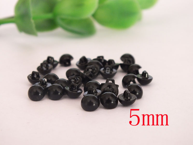 wholesale 200pcs 100pairs 5mm Buttons Eyes black safety eyes for diy doll