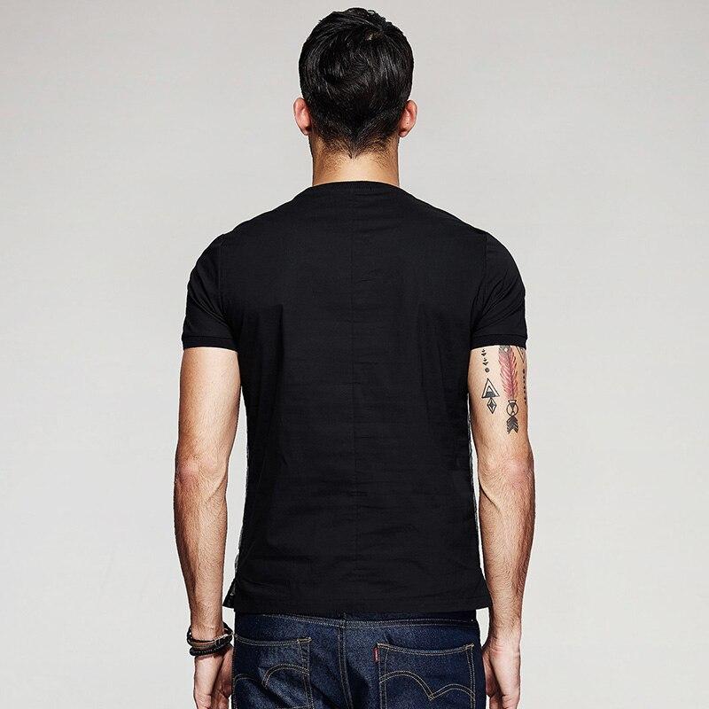 KUEGOU Yeni Yaz Kişi Moda T-Shirts Patchwork İp Çap Qara Marka - Kişi geyimi - Fotoqrafiya 3