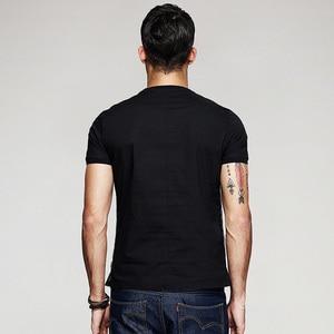 Image 3 - KUEGOU camiseta negra de hilo de retales de algodón para hombre, camiseta de marca para hombre, camiseta de manga corta, camiseta de moda 2020