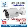 100% Original Dahua IPC-HFW4300S IR HD 1080p IP Camera Security Outdoor 3MP Full HD Network IR Bullet Camera Support POE