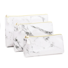 Pencil-Case Makeup-Bags Marble School-Supplies Stationery Large-Capacity Girls for Gifts