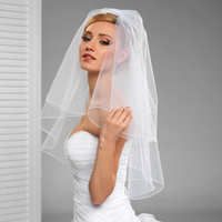 BacklakeGirls Short Ivory White Bridal Veils Cheap Veu De Noiva Weddings Accessories Curto High Quality Wedding