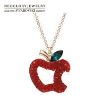 1PC FOR PER ID Neoglory Austria Crystal Auden Rhinestone Pendant Necklace Cute Apple Rose Gold
