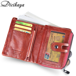 Image 4 - DICIHAYA NEW 2020 Genuine Leather Women Wallet Samll Women Leather Wallets Brand Coins Purse Red COW Leather Wallets Card Holder