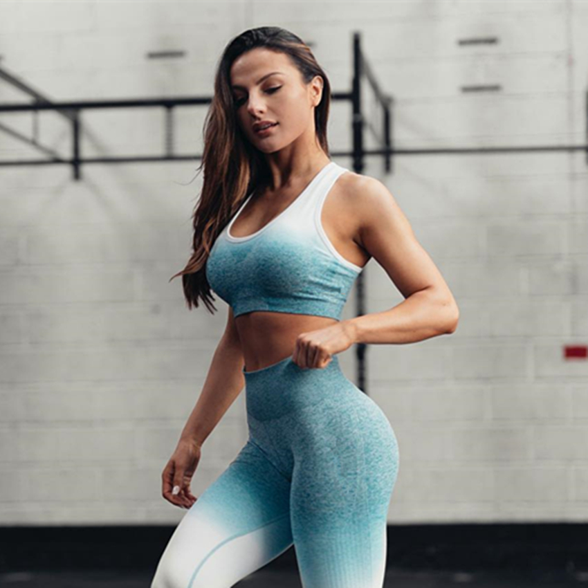 все цены на One F Ombre Seamless Sports Bra For High Quality Workout Fitness Crop Top Bra Padded Push Up Fitness Yoga Bra For Women Gym онлайн