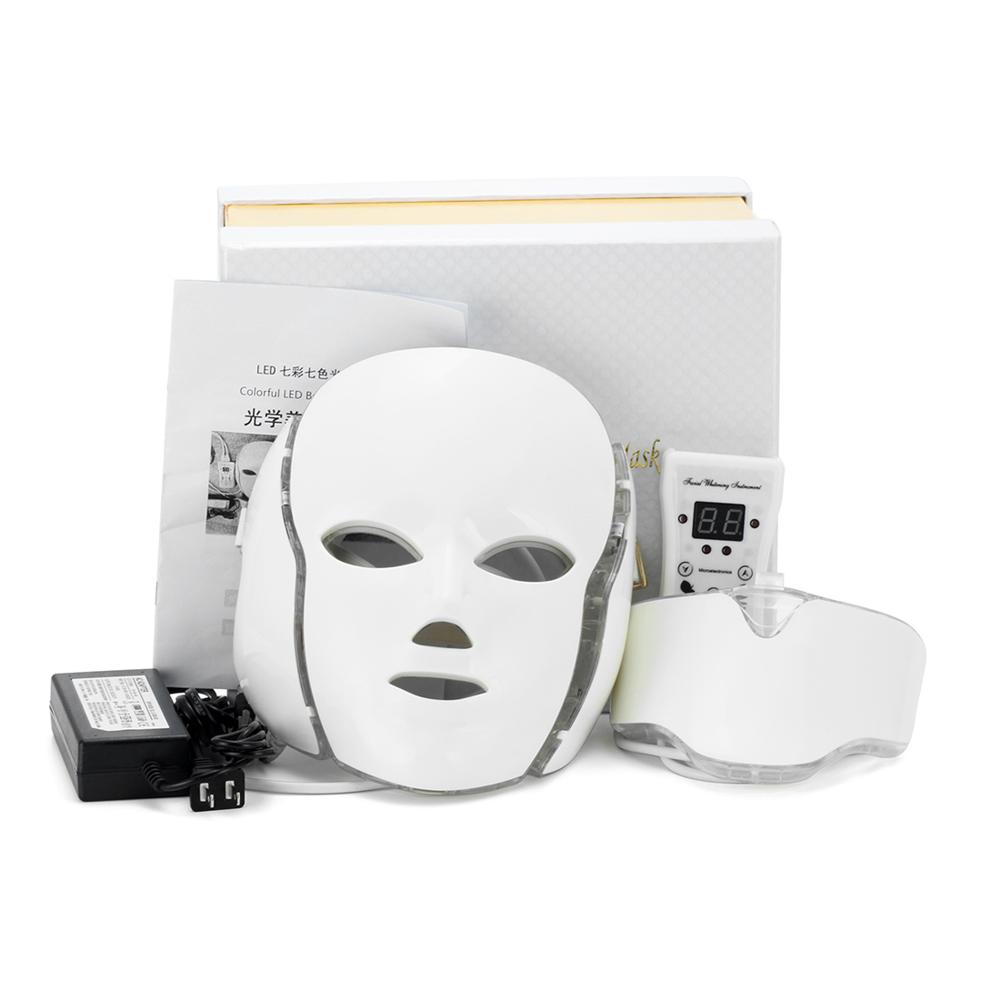 7 Color Facial Beauty Therapy LED Light Mask For Face And Neck Whitening