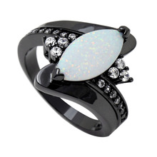 Vnfuru Fire Opal Ring Black Jewelry For Women White Large Natural Ellipse Stone Party Gift Dropshipping Small Big Rings