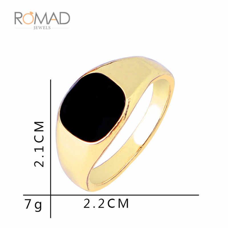 ขนาด 7-12 Vintage Men เครื่องประดับแหวนสแตนเลสออกแบบชุบทองเคลือบสีดำ Mens แหวน bague homme เครื่องประดับ Z4