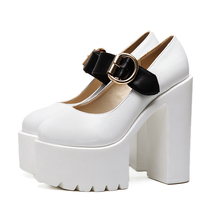 2017 Women Platform Wedge Ultra Very High Heels Mary Jane Buckle Strap Thick Sole Bottom Block Chunky Heel Creeper Casual Shoes