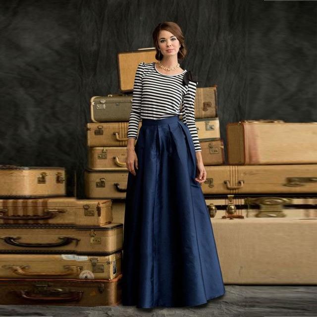87d0f0d6b Simple Maxi elegante falda azul marino oscuro de satén palabra de longitud  falda larga