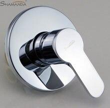 Produtos do banheiro na parede torneira e válvula do misturador do chuveiro latão cromado função única válvula da torneira atuada-17559