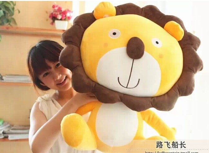 ФОТО big lovely stuffed animal lion toys plush toys cartoon leo lion doll birthday gift yellow about 60cm