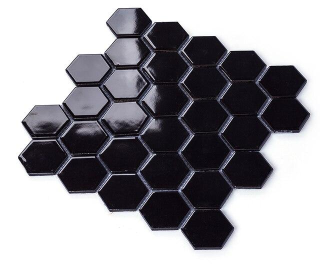Glänzend Schwarz Porzellan Mosaik Fliesen, Hexagon Keramik Aufkleber,  Bathroon Wand/Küche Backsplash Wand