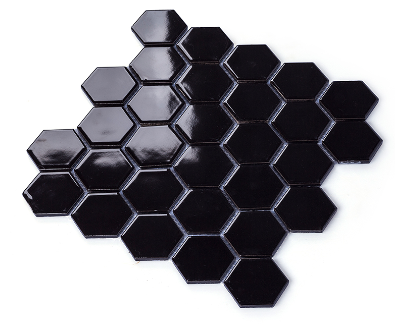 Glossy Black porcelain mosaic tiles,Hexagon ceramic sticker,Bathroon wall/Kitchen backsplash wall Floor home decor tiles,LSHX502 strong view pebble ceramic mosaic tiles for bathroom shower floor kitchen backsplash swimming pool home garden decor tile lsyb14