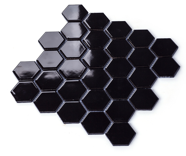 Aliexpresscom Buy Glossy Black porcelain mosaic tilesHexagon