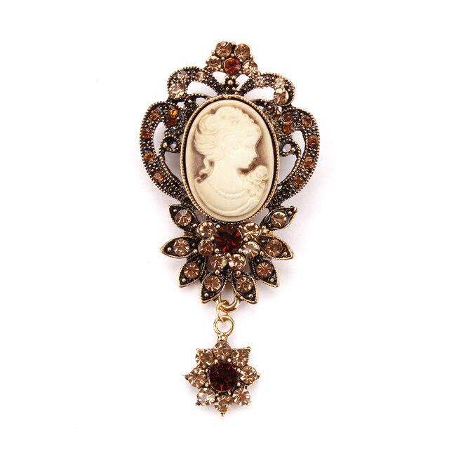 Vintage Fiore Di Cristallo del Pendente Del Cammeo Spilla Spilli in oro antico o argento antico di colore per Le Donne