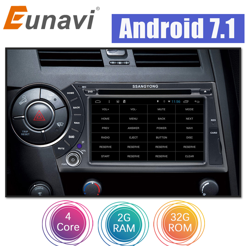 Eunavi 7'' Quad Core 2 din Android 7.1 Car DVD For Ssang Yong SsangYong Kyron Actyon Sports Korando 2005-2013 GPS Radio Stereo купить в Москве 2019