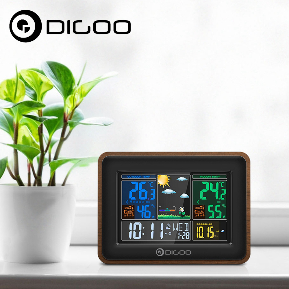 Digoo DG-TH8878 Smart Home Weather Station Barometric Pressure Hygrometer Humidity Thermometer Temperature Outdoor Sensor Clock save 20