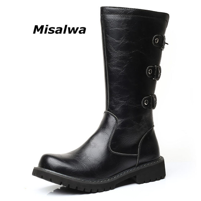 98f6659ca7655 US $40.86 48% OFF|Misalwa Autumn Men's Mid Calf Motorcycle Boots Zipper for  Horse Riding Adult Military Combat Boots Brand Cowboy Leather Buckle -in ...