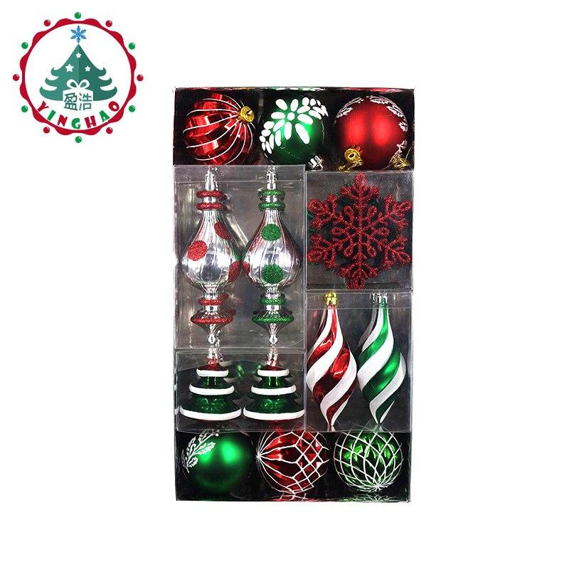 inhoo 50pcs Set Christmas Tree Decorations Balls Snowflake Sheet Hanging Xmas Party Wedding Ornament Xmas