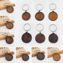 3pcs 25mm 30mm Round Cabochon Wood Tray Bezel Blank Setting Key Chain DIY Metal Keyring Jewelry Accessories