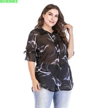 Top Half Button Blusa Women Tops Korean Europe And America New Loose Sleeved Large Size Printed Chiffon Perspective Shirt
