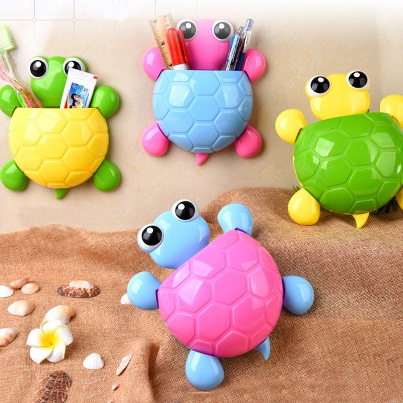 0062 cute cartoon tortoise modelling strong sucker toothbrush rack three sucker toothbrush toothpaste rack in Toothbrush Toothpaste Holders from Home Garden