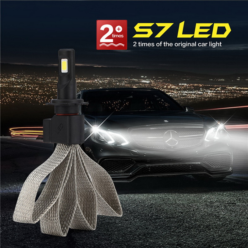 1 Pair H7 Car Headlight Bulbs LED Kit Focus Light Spotlight Beam 6400LM 60W 6000K IP68 Waterproof High/Low Beam COB LED Chips