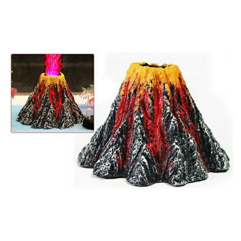 New Fashion Aquarium Volcano Stone Decoration Fish Tank Bubble Volcano Eruption Aquarium Ornament Used With Air Pump Led Light