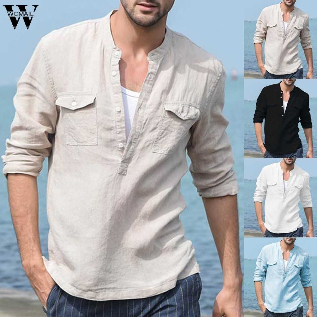 Womail Shirt Men Summer Baggy Cotton Linen Pocket Solid Long Sleeve Retro  Shirts Tops Blouse Gift High Quality New 2019 A8