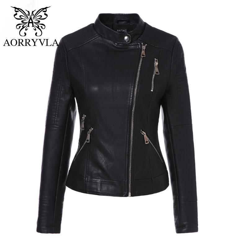 AORRYVLA 2019 Spring PU Leather Coat Women Black Motorcycle Coat Short Faux Leather Biker Jacket Soft