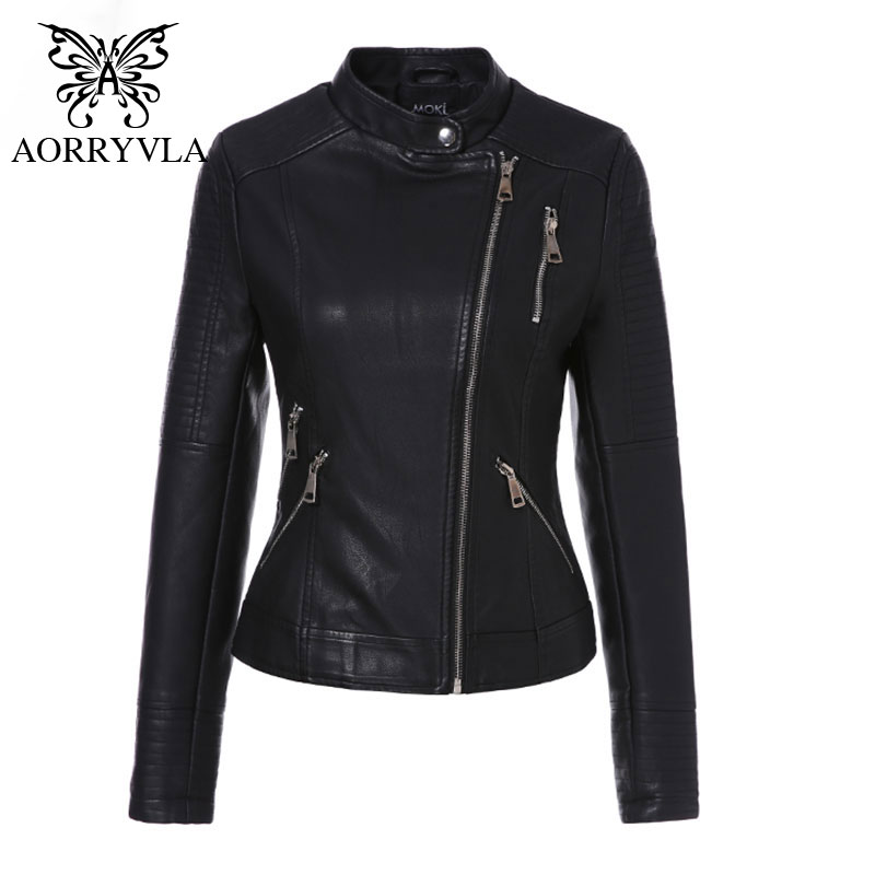 AORRYVLA 2019 Spring PU   Leather   Coat Women Black Motorcycle Coat Short Faux   Leather   Biker Jacket Soft Female Jacket Hot Sale