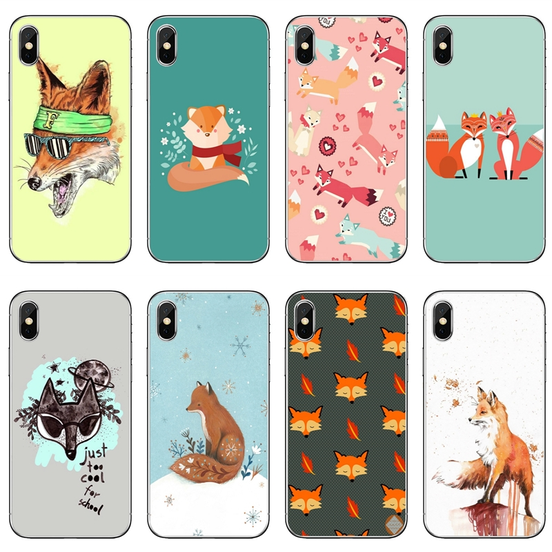 Cartoon Cute Fox For Iphone X Xr Xs Max 8 7 6s 6 Plus Se 5s 5c 5 4s 4 Ipod Touch Case Soft Phone Cover Cases Half Wrapped Cases Aliexpress
