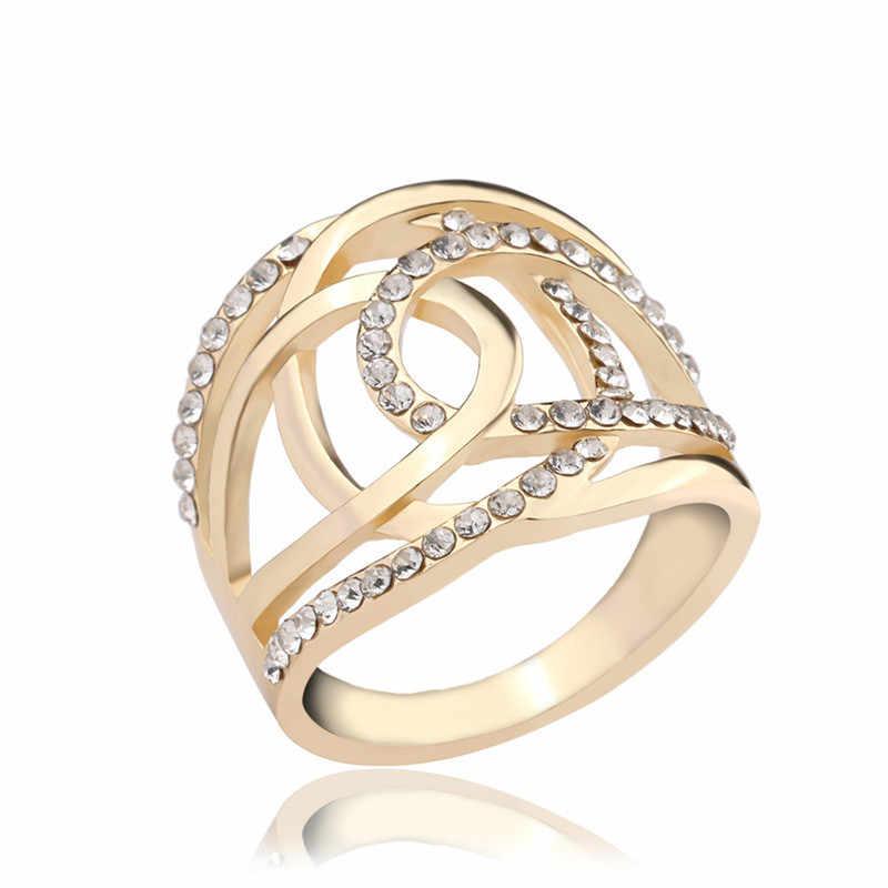 dbf6a2ab0ab0 Серебро/золото Цвет обручальные кольца для Для женщин двойной C линии крест  брендовая одежда аксессуары
