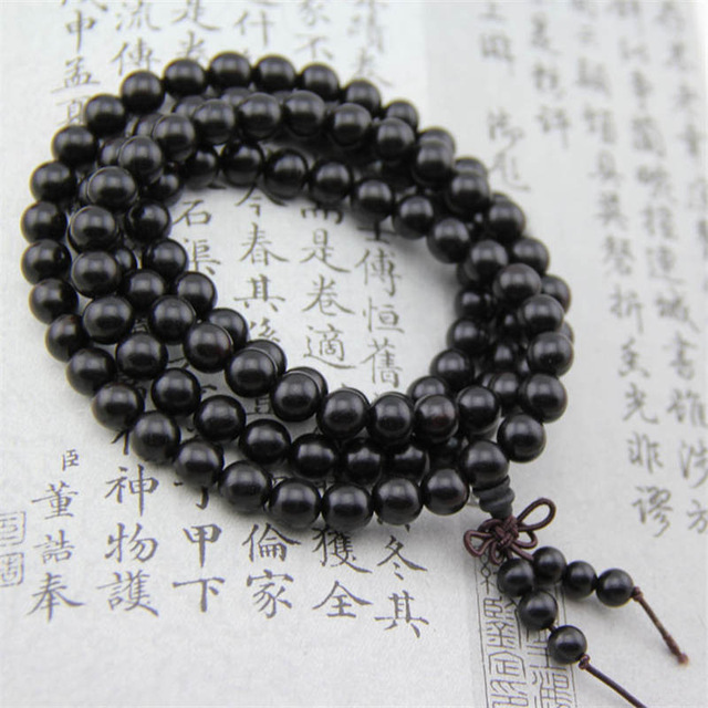 BRO577 Ébène Naturel Perles Bracelets Bouddhiste 108X8mm Noir Bois de Santal Prière Mala
