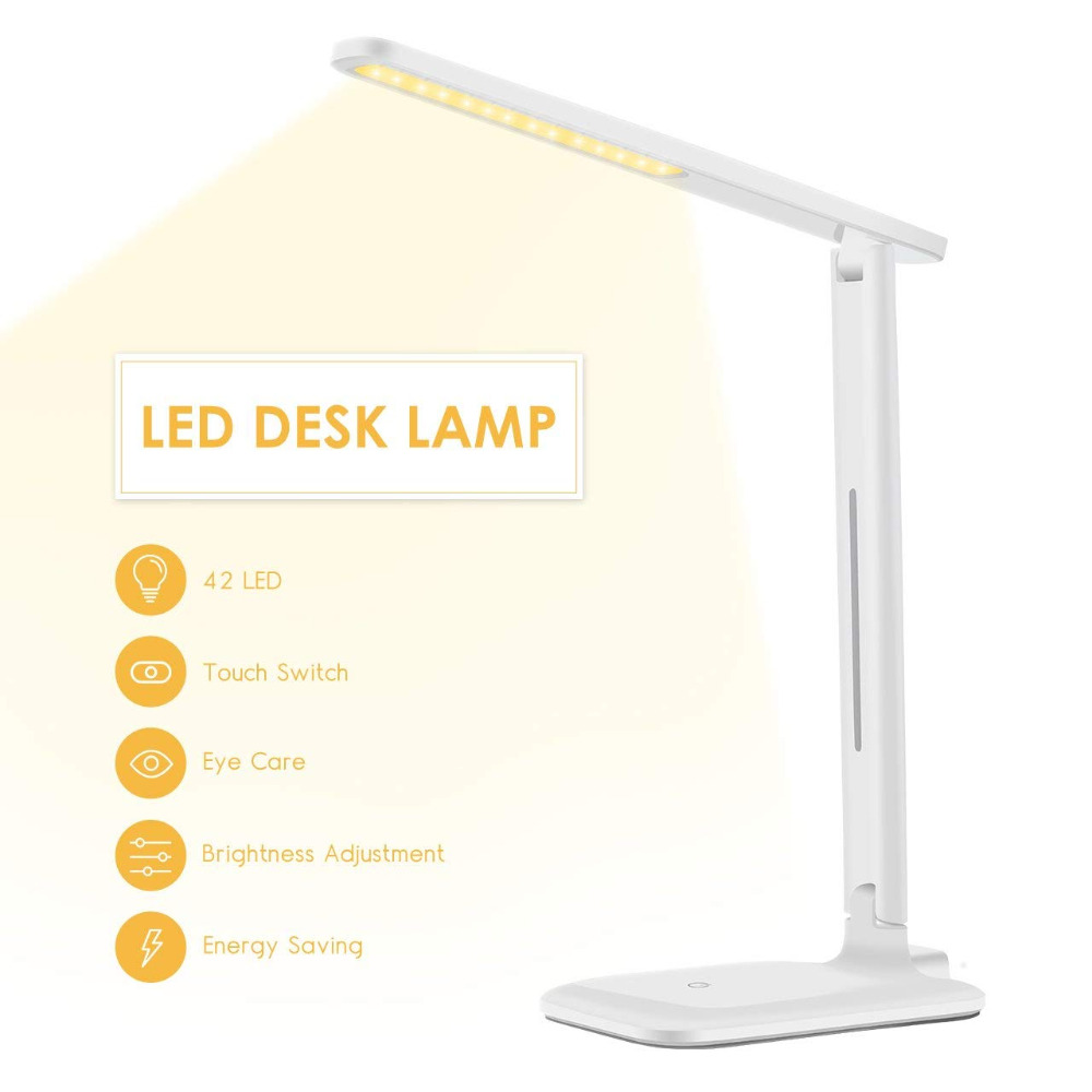 Table Lamp LED Eye Caring Folding Desk Lamp Dimmable Office Light, Touch Control, Warm/Cool/White for Reading, Studying, Working