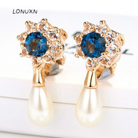 high quality Korean fashion blue crystal rose gold Women water drop shape pearl earring Couple gift Fine jewelry Accessories