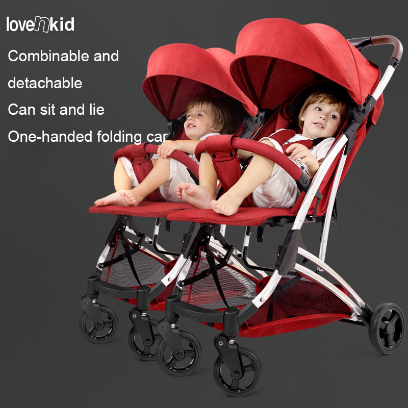 2019 lightweight splittable twins baby carriage stroller sitting lying folding double stroller pram for twins baby