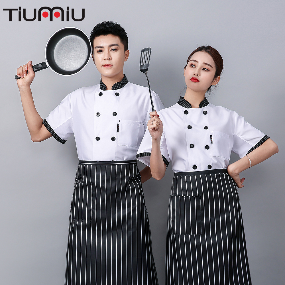Chef Jacket Double-breasted Striped Collar Breathable Uniform Logo Print Man Baking Dessert Shop Afternoon Tea Waiter Overalls