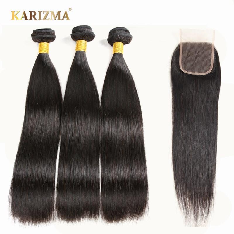 Karizma Peruvian Hair Bundles With Closure 100 Human Hair Weave Straight Hair With Closure Non Remy