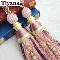 Tassel tiebacks hanging ball to bind belt tied the rope Lob pendant curtain hanging pendant watermelon ball decoration JK014D1