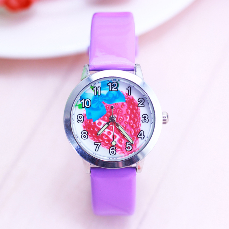 2018 Famous Children Girls Cute Cartoon Strawberry Quartz Watches Kids Casual Luminous Hands Leather Strap Clock Montre Enfant